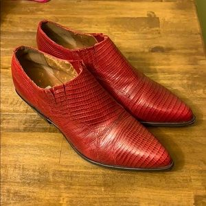 Nine West - Red Leather Ankle Booties